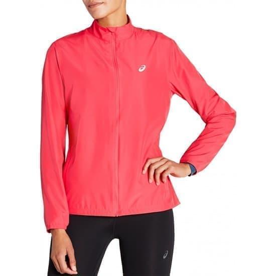 Asics SILVER JACKET (W) Куртка беговая ветрозащитная женская Розовый/Белый - фото 150211
