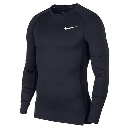 Nike PRO MEN'S TIGHT-FIT LONG-SLEEVE Лонгслив Черный/Белый - фото 154156