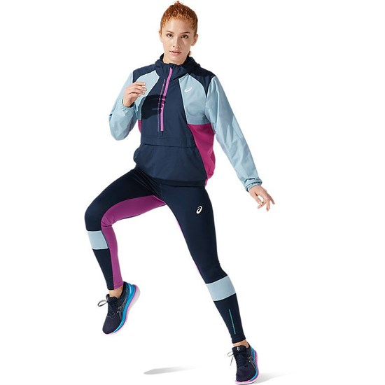 Asics VISIBILITY JACKET (W) Куртка беговая ветрозащитная женская Темно-синий/Голубой - фото 155525