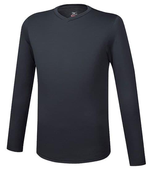 Mizuno BT UNDER V NECK LS Термофутболка с длинным рукавом Черный - фото 157299