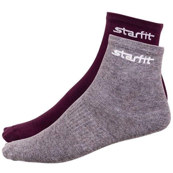 Starfit SW-206 Носки беговые (2 пары) Бордовый/Серый - фото 158489