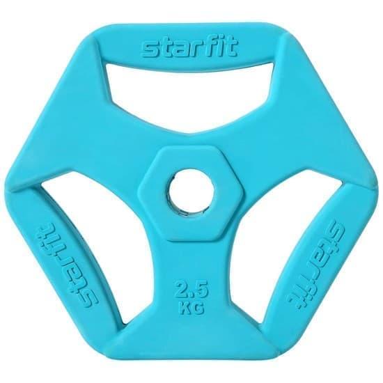 Starfit BB-205 2,5 КГ Диск обрезиненный с хватами, d=26 мм, без стальной втулки - фото 160076