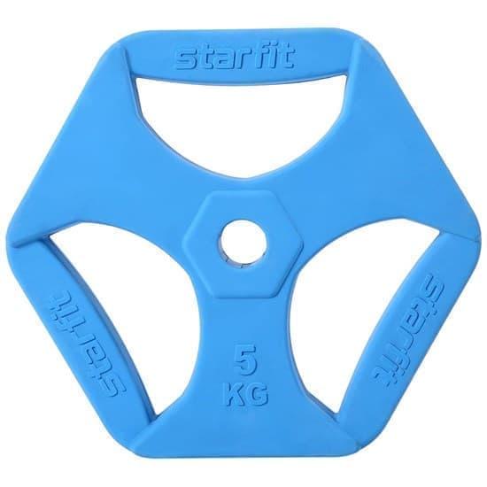 Starfit BB-205 5 КГ Диск обрезиненный с хватами, d=26 мм, без стальной втулки - фото 160080