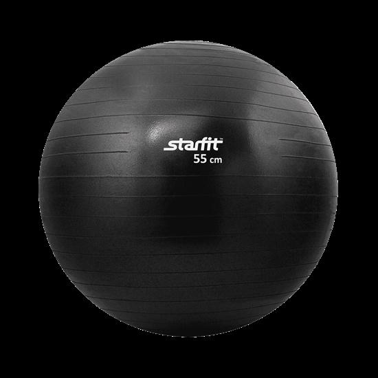 Starfit GB-101 55 СМ, ЧЕРНЫЙ, АНТИВЗРЫВ Мяч гимнастический - фото 161175