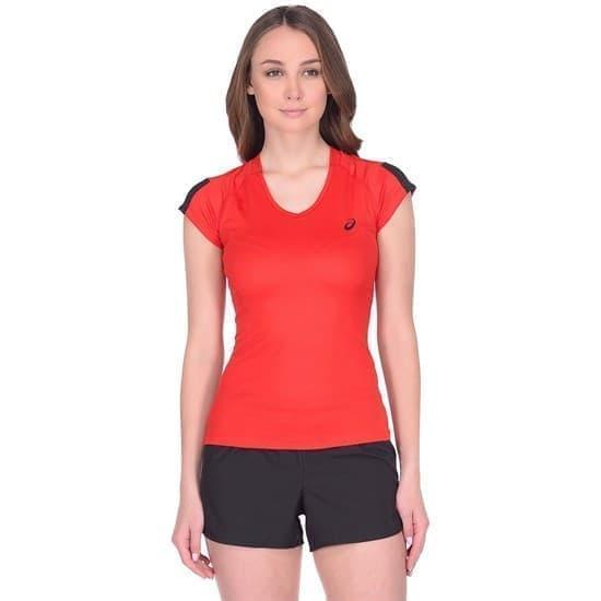 Asics SS TEE INDOOR 2 (W) Футболка игровая волейбольная женская Красный/Черный - фото 161466