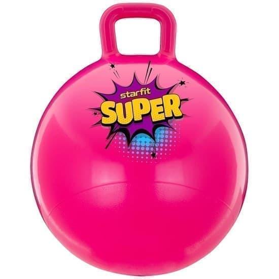 Starfit GB-0401 SUPER 45СМ, 500Г Мяч-попрыгун с ручкой антивзрыв Розовый - фото 163546