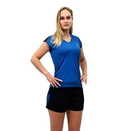 Asics SS TEE INDOOR 2 (W) Футболка игровая волейбольная женская Синий/Темно-синий - фото 163756