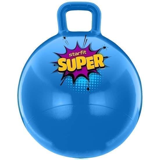 Starfit GB-0401 SUPER 45СМ, 500Г Мяч-попрыгун с ручкой антивзрыв Голубой - фото 163864