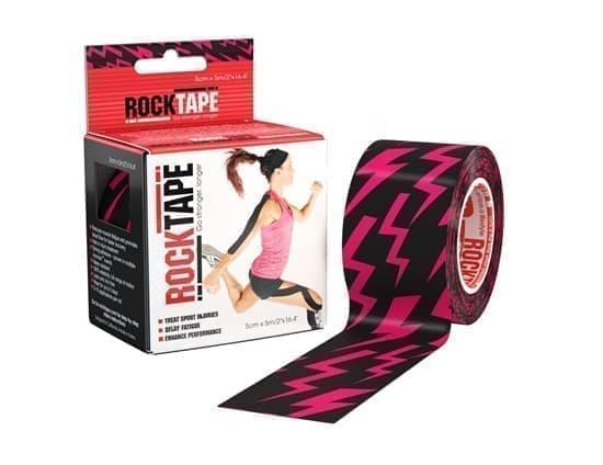 RockTape DESIGN 5см*5м розовые молнии Кинезиотейп Черный/Розовый - фото 165894