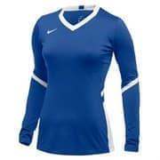 Nike WOMEN'S STOCK HYPERACE LONG SLEEVE JERSEY Футболка волейбольная с длинным рукавом Синий/Белый