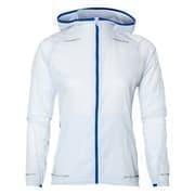 Asics LITE-SHOW JACKET (W) Куртка ветрозащитная беговая женская Белый/Синий