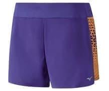 Mizuno PHENIX PRINTED SQUARE 4.0 (W) Шорты беговые женские Фиолетовый/Оранжевый