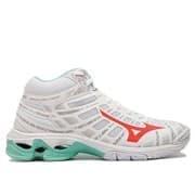 Mizuno WAVE VOLTAGE MID (W) Кроссовки волейбольные женские Белый/Коралловый/Зеленый