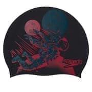 Speedo SLOGAN CAP JR Шапочка для плавания детская Черный/Красный