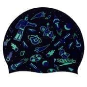Speedo SLOGAN CAP JR Шапочка для плавания детская Черный/Салатовый
